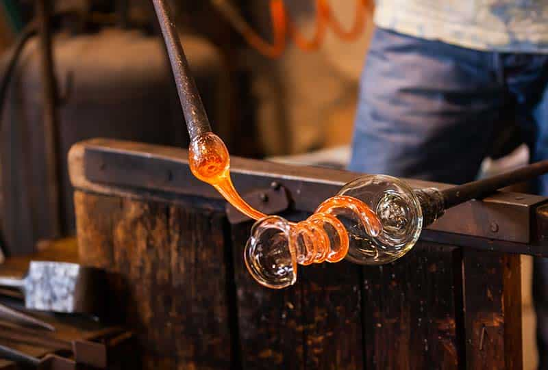 High End lighting designer glass blowing
